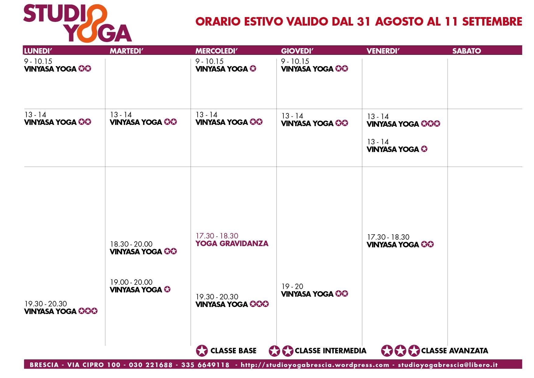 Gli Orari Dal 31 Agosto All 39 11 Settembre Studio Yoga Brescia
